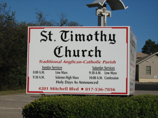 Church Signs in Dallas TX and Surrounding Areas | Hancock Sign Company | St. Timothy's Custom Church Sign