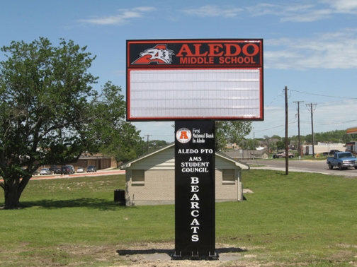 School Signs in Dallas TX and Surrounding Areas | Hancock Sign Company | Aledo Middle School's Custom Sign