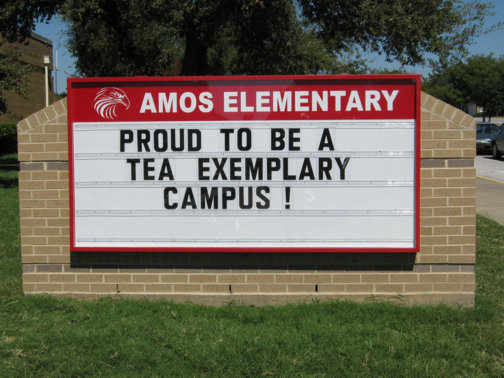 School Signs in Dallas TX and Surrounding Areas | Hancock Sign Company | Amos Elementary's Custom Sign